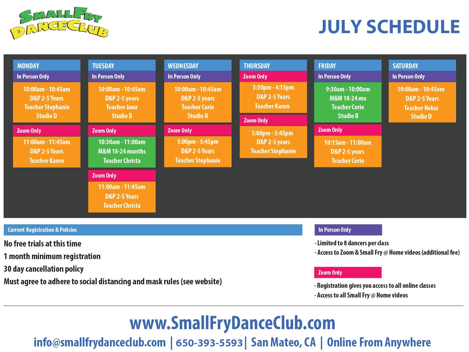 July 2020 Dance Schedule