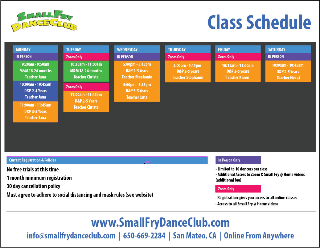 Dance Class Schedule